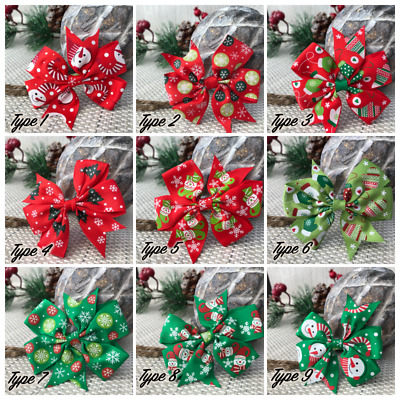 Christmas Baby Girl Bow Headband Red Ribbon Elastic Hairband Baby Girl Xmas