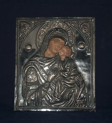 Antique Silver Russian Orthodox Icon Madonna And Child