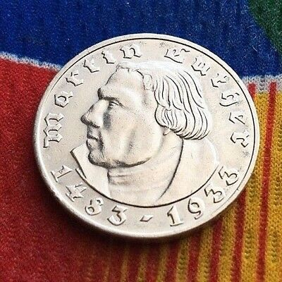 1933 A 2 Mark WWII German Silver Martin Luther Coin Third Reich 5*