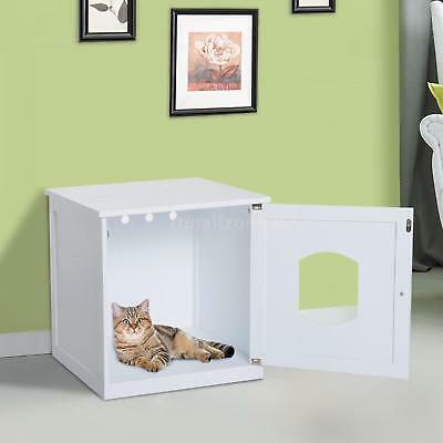Cat Hidden Litter Box Furniture Bench Enclosure Kitty Condo Shelter House Table