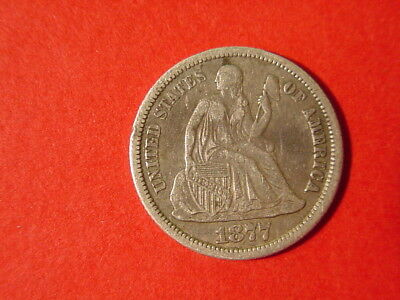 1877 CC Seated Liberty Dime 90% Silver Coin VF-XF