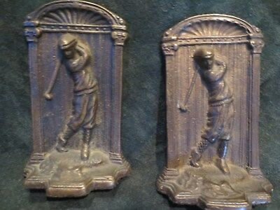 Set of antique hickory golf period bronze book ends with period golfer