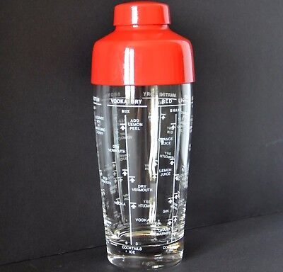Cocktail shaker Vintage glass retro red plastic lid drink recipes barware bar