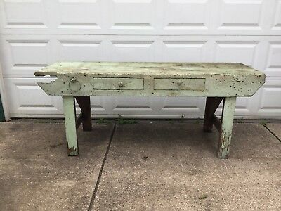 Old Vintage Wood Workbench Table W 2 Drawers Distressed Pine Top Old Green Paint