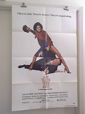 JUST TELL ME WHAT YOU WANT ONE SHEET MOVIE POSTER ALAN KING ALI MacGRAW ORIGINAL
