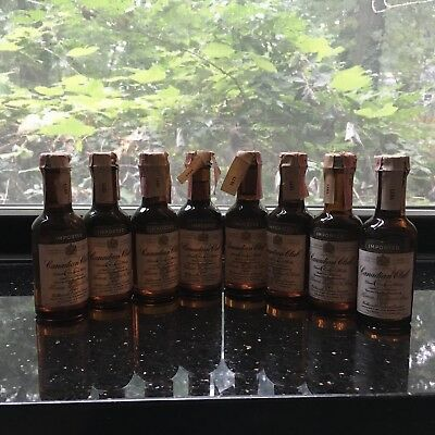 Lot Of 8 Bottles Vintage Canadian Club Imported  MINIATURE Whiskey Bottle