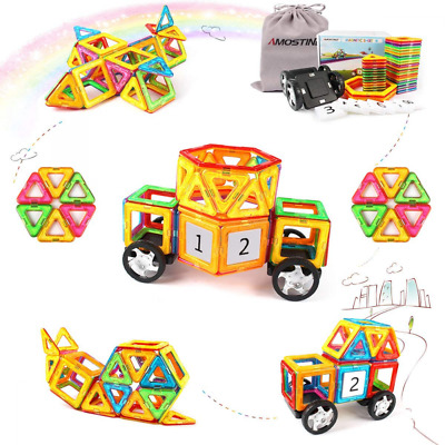 Educational Toys for Toddlers with Car Wheels Magnetic Tiles Building Block US