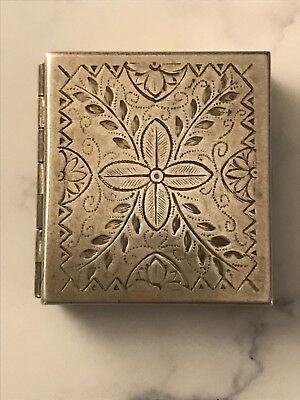 Antique Sterling Silver Square Pill Snuff Box Floral Decoration