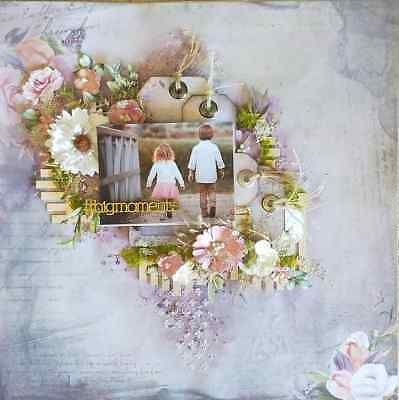 "Handmade Pre-made Mixed Media 12"" x 12"" Scrapbook Page Layout - Big Moments"