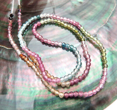 Rare Sparkling Aaaaa Pink Blue Green Yellow + Tourmaline Faceted Beads  13.25""