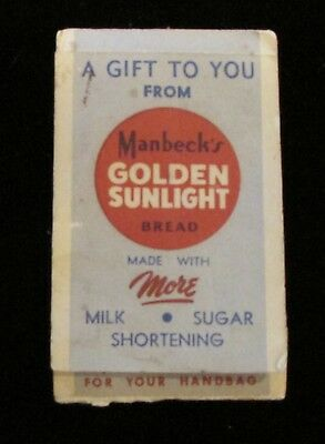 Manbeck's Golden Sunlight Bread Lipstick Tissues for Handbag Vintage