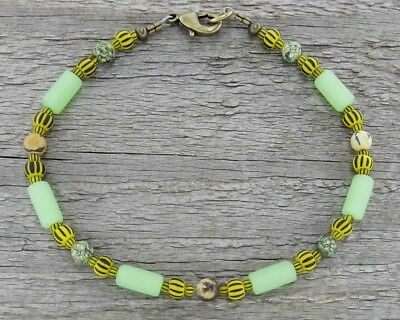 Boho Anklet or Bracelet in Matte Glass, Stone, & Bumble Bee Stripe Trade Beads