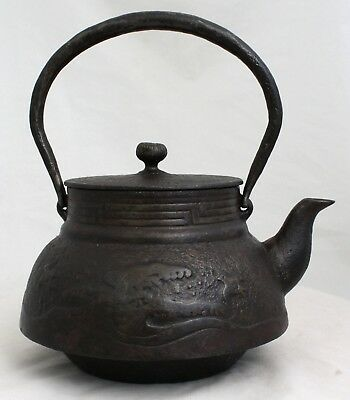 Japanese Showa Period Cast Iron Tetsubin Tea Pot Plovers Waves Maker's Mark