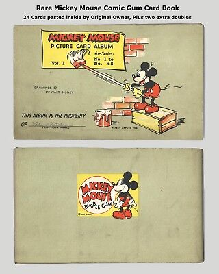 NICE 1930's MICKEY MOUSE GUM CARD ALBUM With 26 CARDS - VERY SCARCE - ORIGINAL