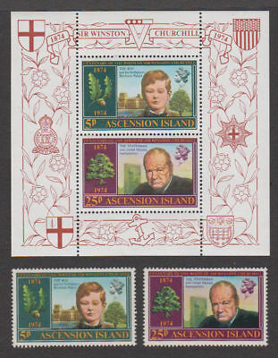 Ascension - 1974 Winston Churchill Set & S/S. Sc. #181-2a, SG#182-4. Mint NH
