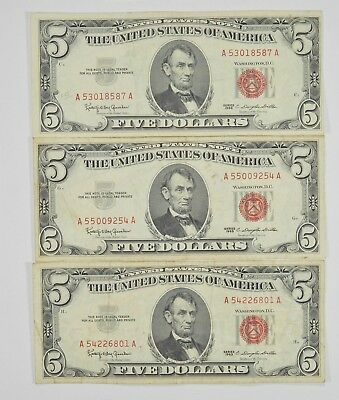 Lot of 3 - RED SEAL - $5.00 United States Notes - 1963 Lot Collection *756