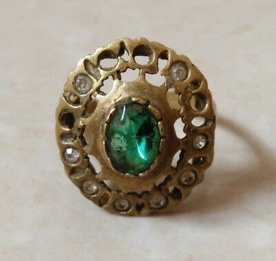 rare ancient antique roman ring bronze authentic with stones colored