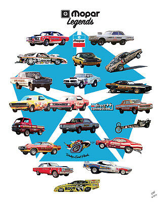 """Mopar Legends"" Prudhomme, Garlits, Sox & Martin Drag Racing 16""X20"" Poster"