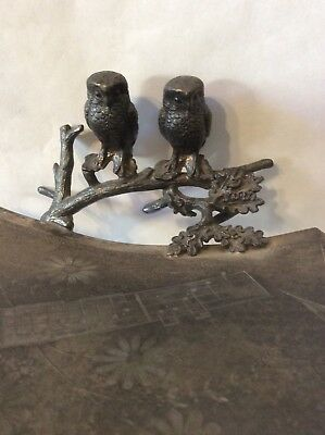 Victorian Silver Plate Calling Card Receiver/tray With Owls: Aesthetic Movement