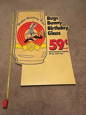 Store Display Bugs Bunny 50 Birthday Glasses. Looney Tunes Six Flags.