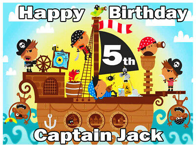 Pirate Ship Edible Icing Image Cake Topper Personalised Birthday Decoration