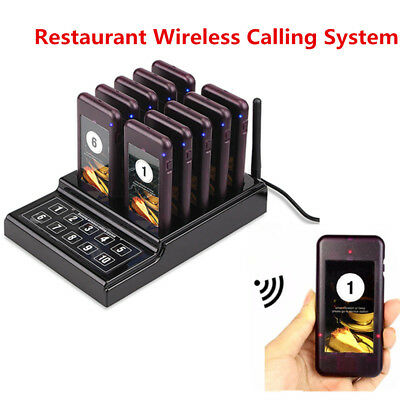 Restaurant Wireless Paging Queuing Call System 10 Call Coaster Pager Guest TS