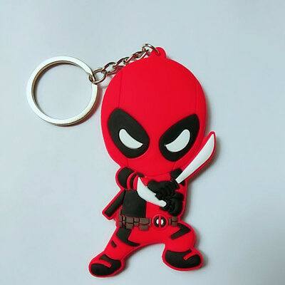 New double sided Fighting Deadpool Soft Rubber Key chain Key ring s353