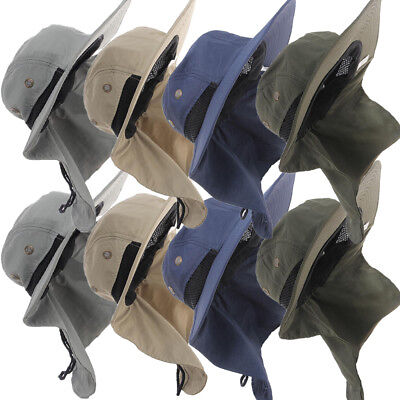 65884fc5ab6 Neck Flap Boonie Hat Fishing Hiking Safari Outdoor Sun Brim Bucket Bush Cap  Blue