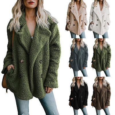 Fashion Women's Winter Warm Fluffy Coat Fleece Pocket Jackets Lady Outerwear New
