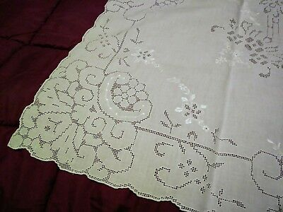 Pretty Madeira Cutwork and Embroidered 50 by 49 inch Tablecloth