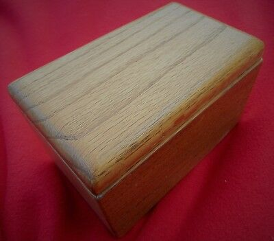 "BEAUTIFUL VINTAGE, HEAVY SOLID  3/4"" OAK BOX ~ BRASS HINGED LID ~ 7"" x 4 1/8"""