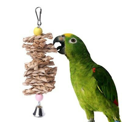 Parrot Bird Toys Natural Wooden Grass Chewing Bite Hanging Cage Bell Swing _S