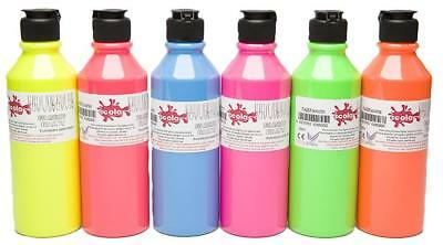 Scolaquip Water Based Intermixable Fabric Paint 150ml 6 Pack Fluorescent Colours
