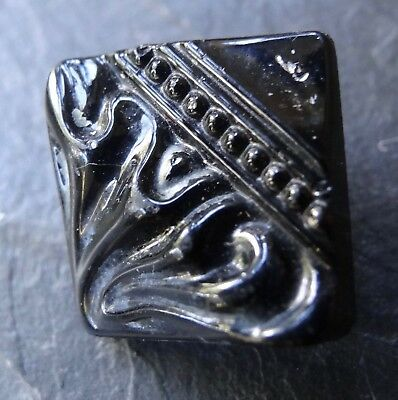 antique Victorian 11mm french jet black glass unusual square flower button -A127