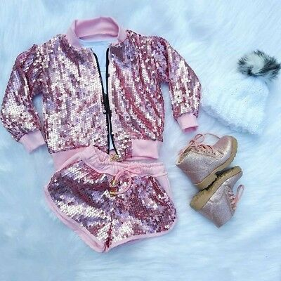 US Stock Toddler Kids Baby Girls Sequins Pink Top Jacket Coat+Shorts Outfits Set