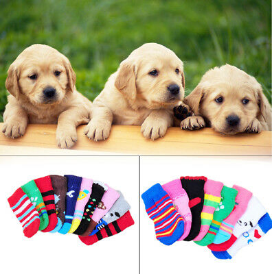 4PCS Assorted Pattern Pet Dog Puppy Cat Non-Slip Shoes Slippers Socks Random