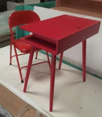 Habitat CATO Red Desk With Solid Wood Legs and matching chair