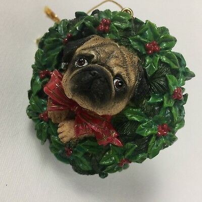 danbury mint pug pugs and kisses christmas ornament all decked out
