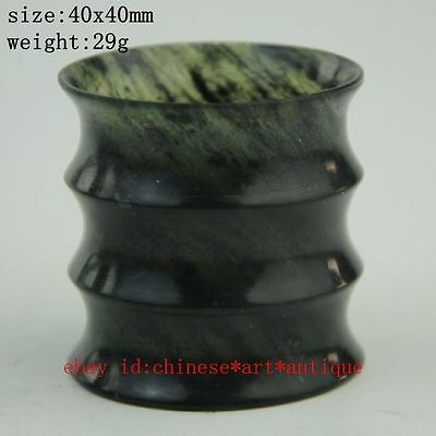 old Chinese Hetian Cyan jade Ming&Qing pure hand-Carved bamboo cup antiques a02