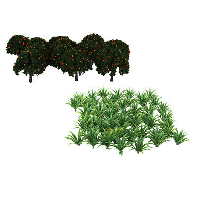 Train Railroad Scenery DIY Decors 50x Grass+20x Tree Model HO OO Collectible