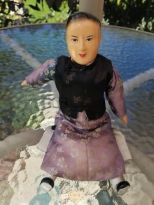 Antique Chinese boy Composition doll silk clothes measures 10 inches tall