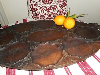 Antique hand carved chestnut wood tray