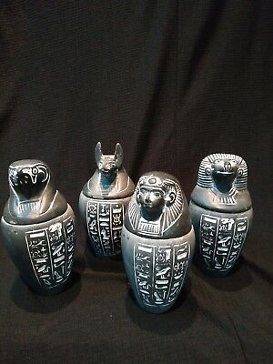 Antique Collection Set 4 Egyptian Ancient Canopic Jars Organs Storage