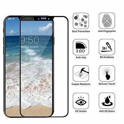 For iPhone X XR XS Max Curved 3D Full Coverage Tempered Glass Screen Protector