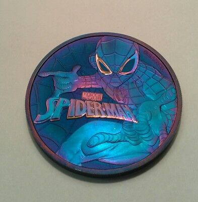 2017 Tuvalu marvel spiderman 1oz silver coin , awesome toning, toned****