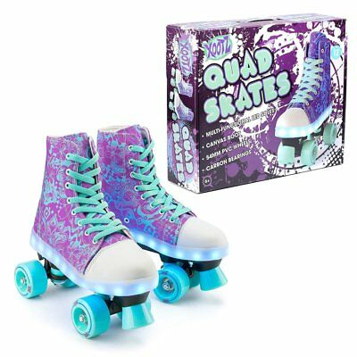 Xootz Kids Quad Canvas Roller Boots Skates Blade with LED Lights And Stoppers