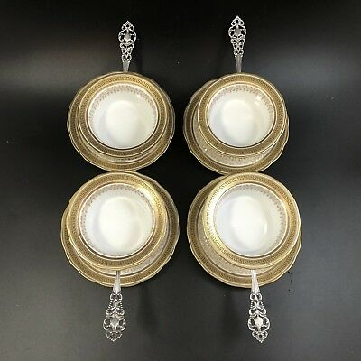 Antique Set Of 4 Shreve Sterling Silver FANCY Greek Key Limoges Ramekin Holders
