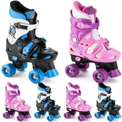 Xootz Kids Quad Roller Skates Boots Boy Girl Adjustable 10-12 13-3 3-5 Pink Blue