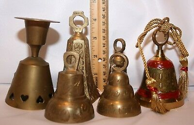 Bells 6 pieces Brass & similar Varied Collectible Lot C Enamel Candle holder