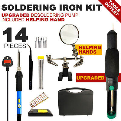 13-IN-1 60W Soldering Iron Kit upgraded desoldering Pump  Helping Hand full set